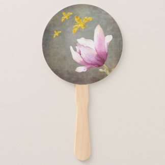 Watercolor Flower & Gold Bees Hand Fan