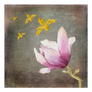 Watercolor Flower & Gold Bees Poster