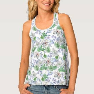 Watercolor Flower Pattern All-Over Print Tank Top
