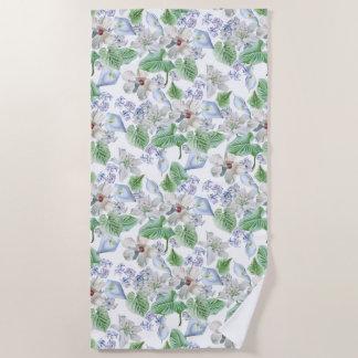 Watercolor Flower Pattern Beach Towel
