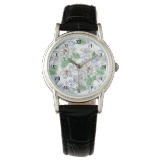 Watercolor Flower Pattern Classic Watch