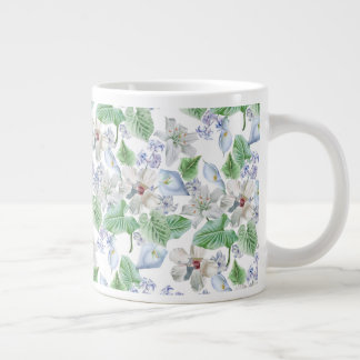 Watercolor Flower Pattern Jumbo Mug