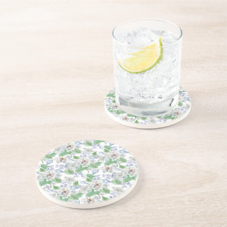 Watercolor Flower Pattern Sandstone Drink Coaster
