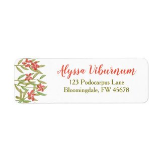 Watercolor Flower Return Address Labels Red Star