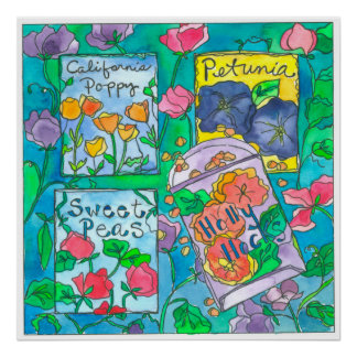 Watercolor Flower Seed Packets Poster
