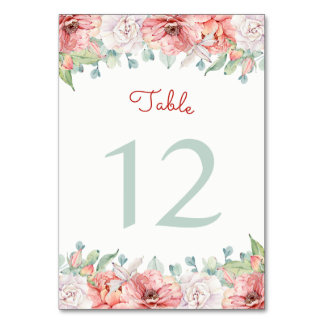 Watercolor Flower Table Number Cards