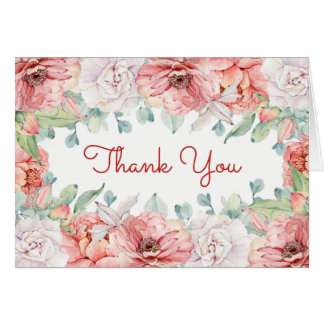 Watercolor Flower Thank You Card