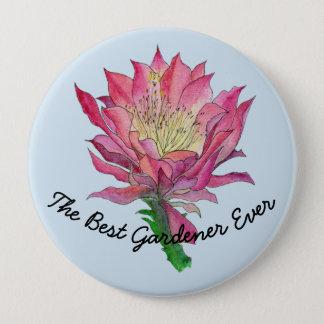 Watercolor Flower The Best Gardener Ever Button