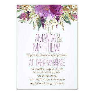 "Watercolor Flower Wedding 5"" X 7"" Invitation Card"