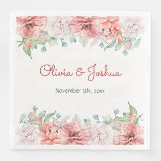 Watercolor Flower Wedding Napkins Disposable Napkins