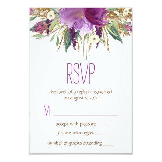 "Watercolor Flower Wedding RSVP 3.5"" X 5"" Invitation Card"
