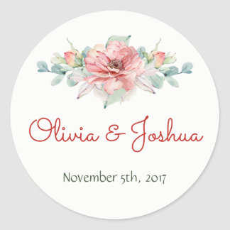 Watercolor Flower Wedding Stickers