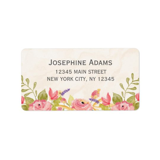 Watercolor Flowers Address Labels