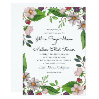 Watercolor Flowers and Berries Wedding Card