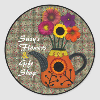 Watercolor Flowers and Teapot Sticker