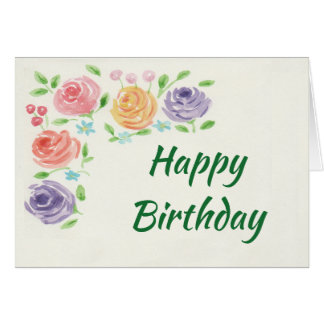Watercolor Flowers Birthday Card (Large Print)