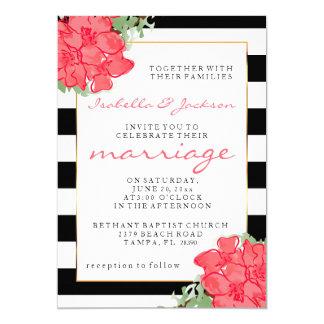 Watercolor Flowers | Black & White Stripes Wedding 13 Cm X 18 Cm Invitation Card
