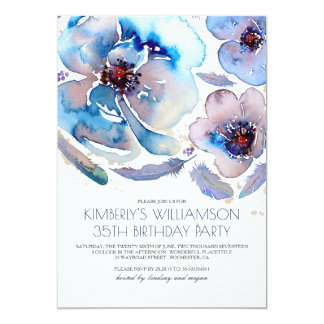 Watercolor Flowers Blue Boho Birthday Party Card