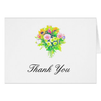 Watercolor Flowers Bouquet Elegant Thank You Card