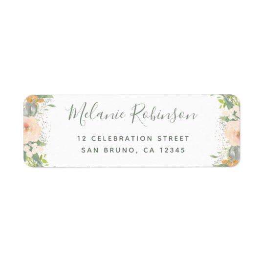 Watercolor Flowers & Confetti Wedding Return Address Label