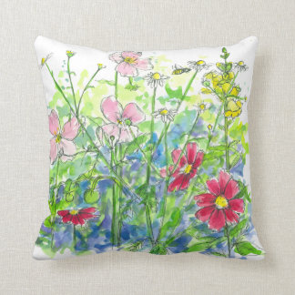 Watercolor Flowers Cosmos Snapdragons Pinks Throw Pillow