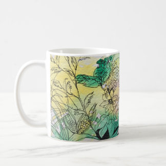 Watercolor Flowers Cup Basic White Mug