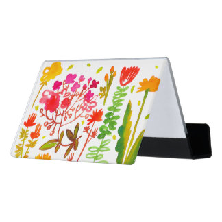 watercolor flowers Desk Business Card Holder