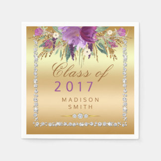 Watercolor Flowers Diamonds Gold Graduation Paper Napkin