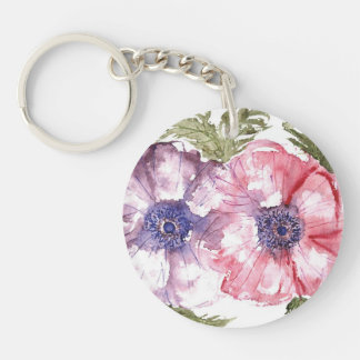 Watercolor flowers Double-Sided round acrylic key ring