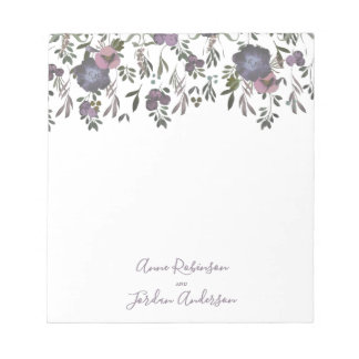 Watercolor Flowers & Elegant Script Wedding Notepad