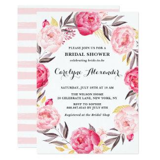 Watercolor Flowers & Faux Gold Foil Bridal Shower Card