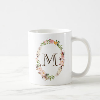 Watercolor Flowers & Feathers Boho Wreath Monogram Coffee Mug