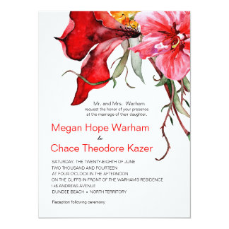 Watercolor Flowers Flora Botanica Wedding Card
