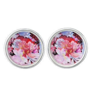 Watercolor flowers garden. Abstract illustration Cuff Links