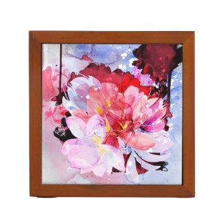 Watercolor flowers garden. Abstract illustration Desk Organiser