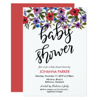 Watercolor Flowers Handwritten Baby Shower Card