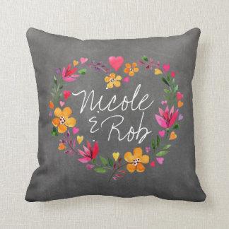 Watercolor Flowers Heart Wreath | chalkboard grey Cushion