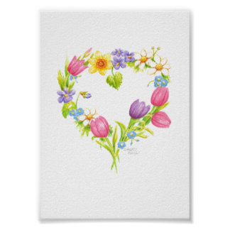 Watercolor  Flowers Heart Wreath Poster 5 x 7
