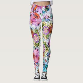 Watercolor flowers leaves multicolor bright pastel leggings