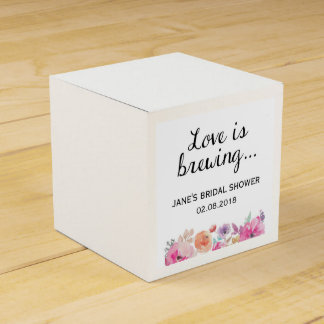 "Watercolor Flowers ""Love is Brewing"" Bridal Shower Favour Box"