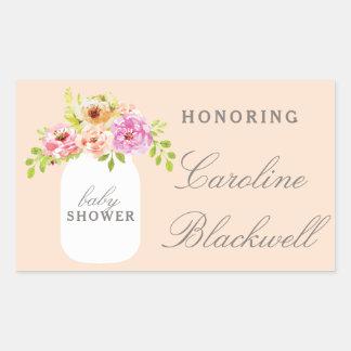 Watercolor Flowers & Mason Jar Baby Shower Rectangular Sticker