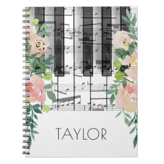 watercolor flowers music piano notebooks