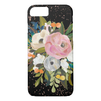 Watercolor Flowers on Black with Pink Splashes iPhone 8/7 Case