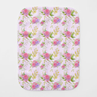 Watercolor Flowers Pattern Burp Cloth