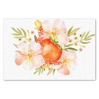 Watercolor Flowers & Persimmon Fruit Bouquet Tissue Paper