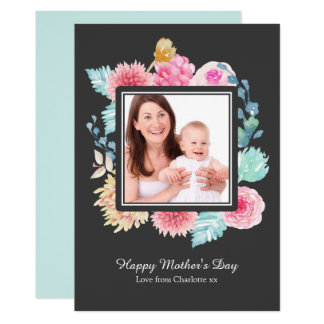 Watercolor Flowers Photo Frame Personalised Card