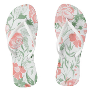 Watercolor Flowers Pink pastel Thongs