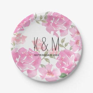 Watercolor Flowers Pink Peonies Wedding Monogram Paper Plate