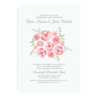 Watercolor Flowers Pink Roses Engagement Party 13 Cm X 18 Cm Invitation Card