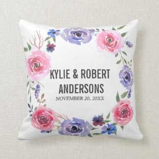 Watercolor Flowers Pink Violet Rose Wreath Wedding Throw Pillow